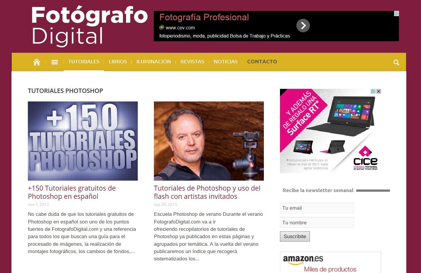FotografoDigital.com nuevo diseño y +150 Tutoriales de Photoshop