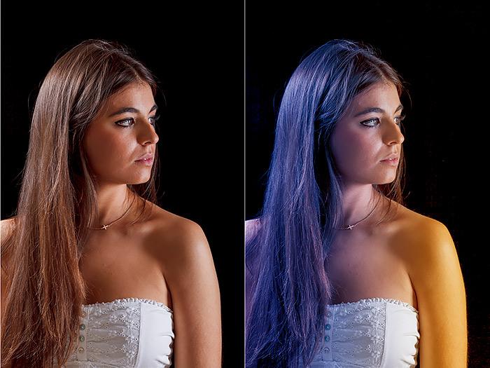 efecto iluminación con geles de color en Photoshop tutorial