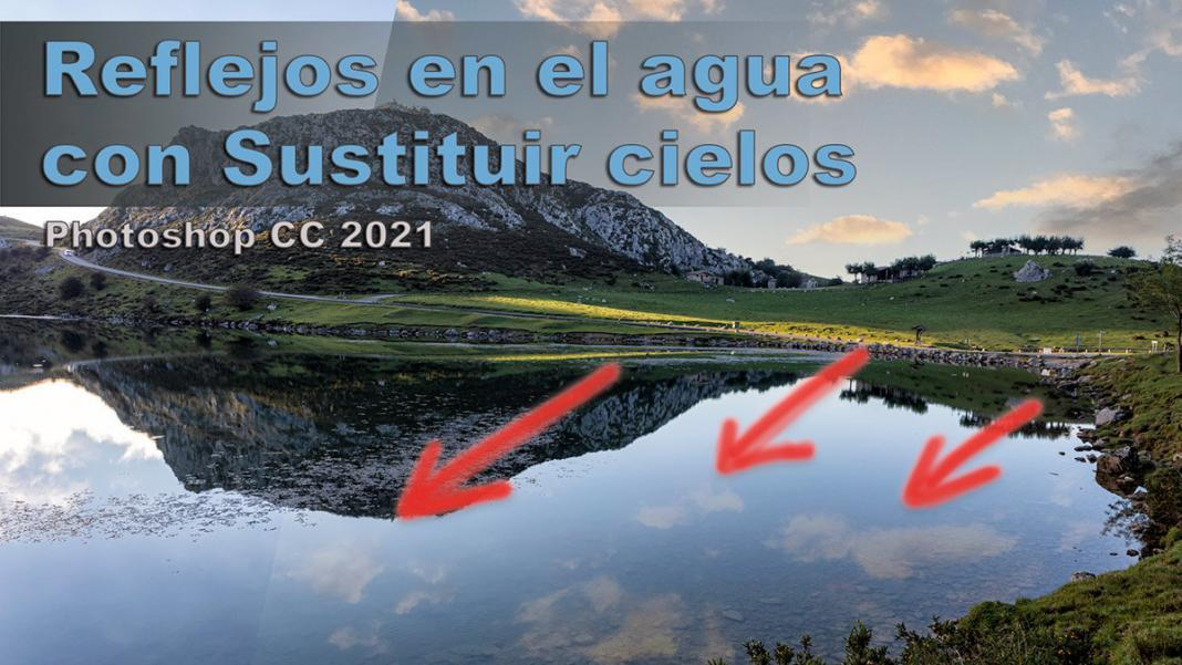 sustitución de cielo con reflejos en el agua